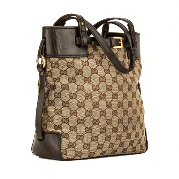 Gucci Brown Leather GG Monogram Canvas Tote Bag (4102004)