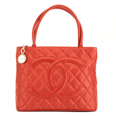 1658032243a5 Chanel Red Quilted Caviar Medallion Tote