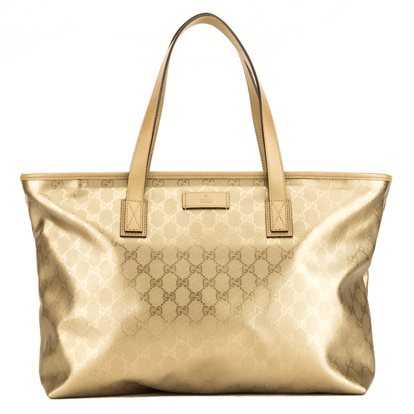 66d1c63ba5b4 Gucci Gold GG Coated Monogram Tote (4103007) - 4103007   LuxeDH