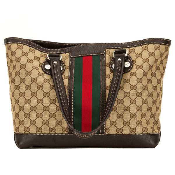 962fe75faec529 Gucci Brown Leather Beige Canvas Shelly Tote (4109003) - 4109003 ...