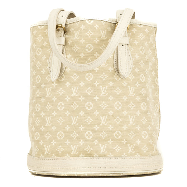 Louis Vuitton White Monogram Mini Lin Petit Bucket (4110012)