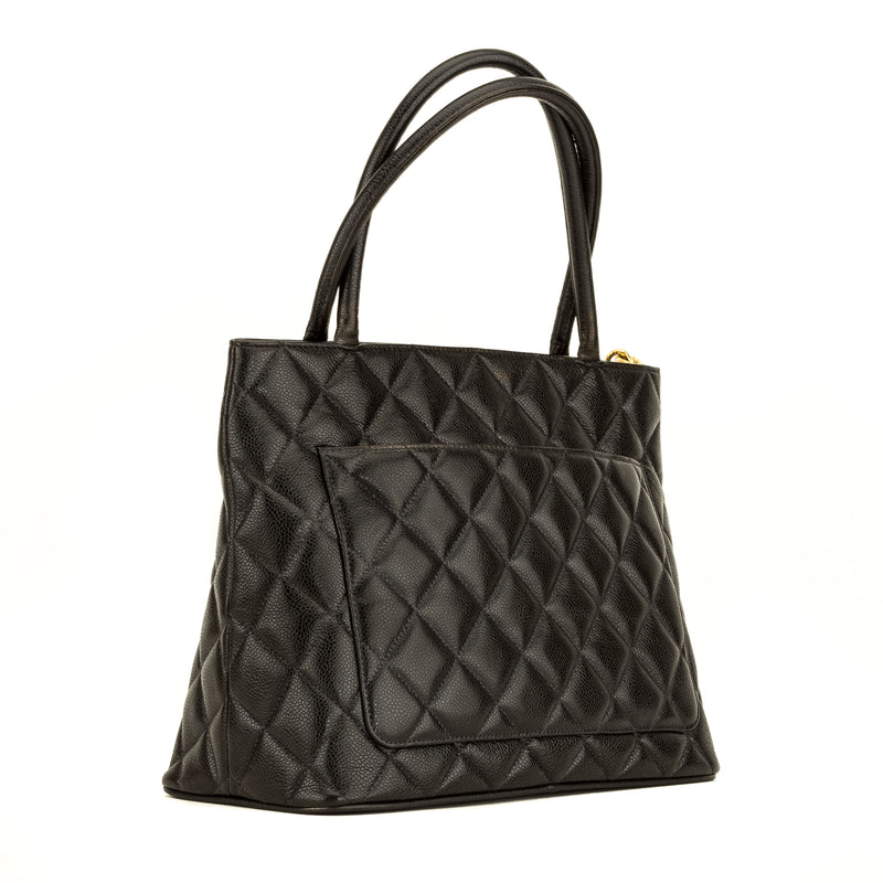 Chanel Black Quilted Caviar Medallion Tote (4134015)