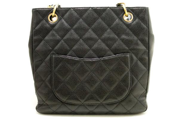 Chanel Black Quilted Caviar Petit Shopping Tote PST (SHB-10048)