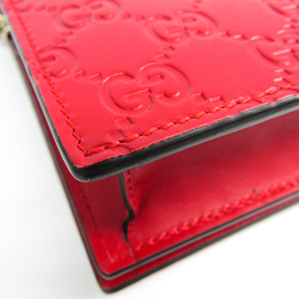 Gucci Red Guccissima Leather Signature Mini Wallet on Chain Bag (SHA-22599)