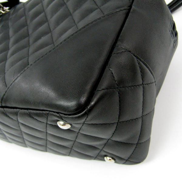 Chanel Black Quilted Lambskin Leather Cambon Ligne Bowler Bag  (SHA-12060)