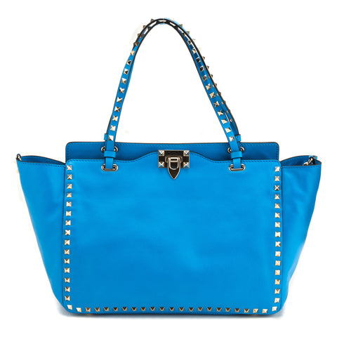 Valentino Garavani 'Rockstud' Blue Leather Trapeze Tote (New with Tags)