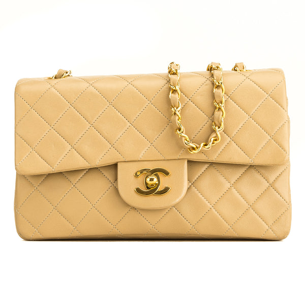 Chanel Beige Quilted Lambskin Small Classic Flap (5101001)