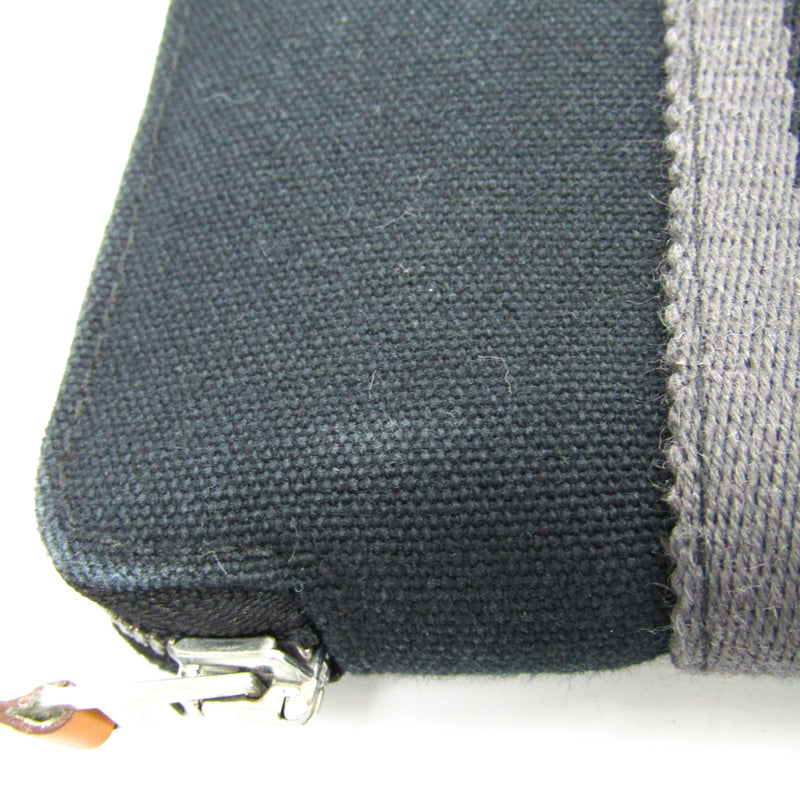 Hermes Black Gray Canvas Fourre Tout PM Wallet (SHA-14392)