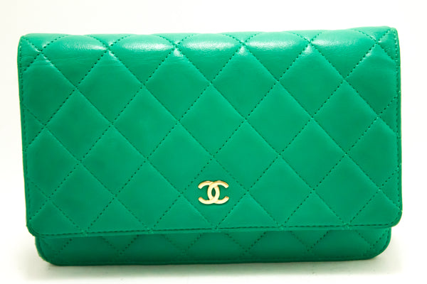 Chanel Green Quilted Lambskin Classic Wallet On Chain WOC (SHB-10004)