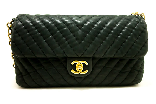 Chanel Black Chevron V Stitch Glitter Single Flap (SHB-10010)