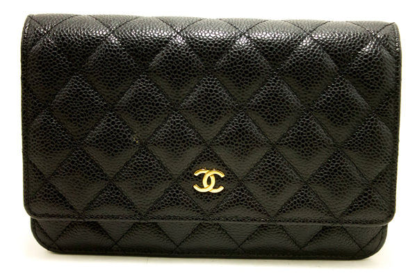 Chanel Black Quilted Caviar Leather Wallet On Chain Shoulder Bag (SHB-10002)