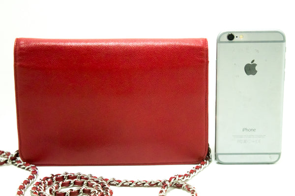 Chanel Red Caviar Wallet On Chain WOC (SHB-10039)
