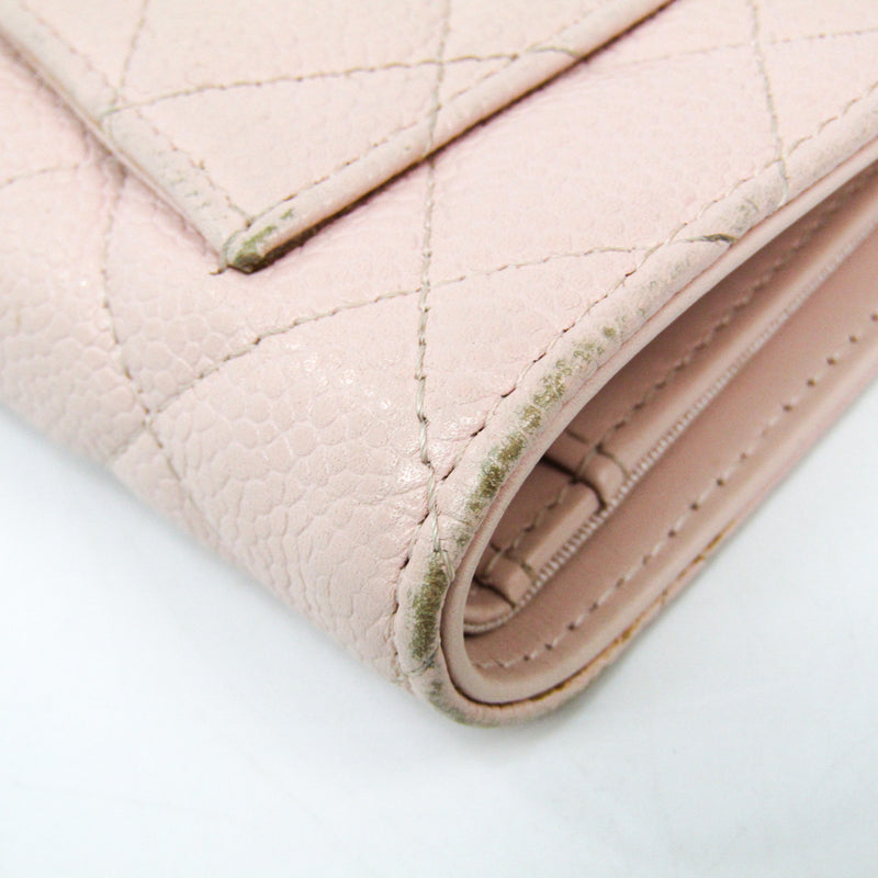 Chanel Pink Quilted Caviar L-Yen Wallet (SHA-14327)