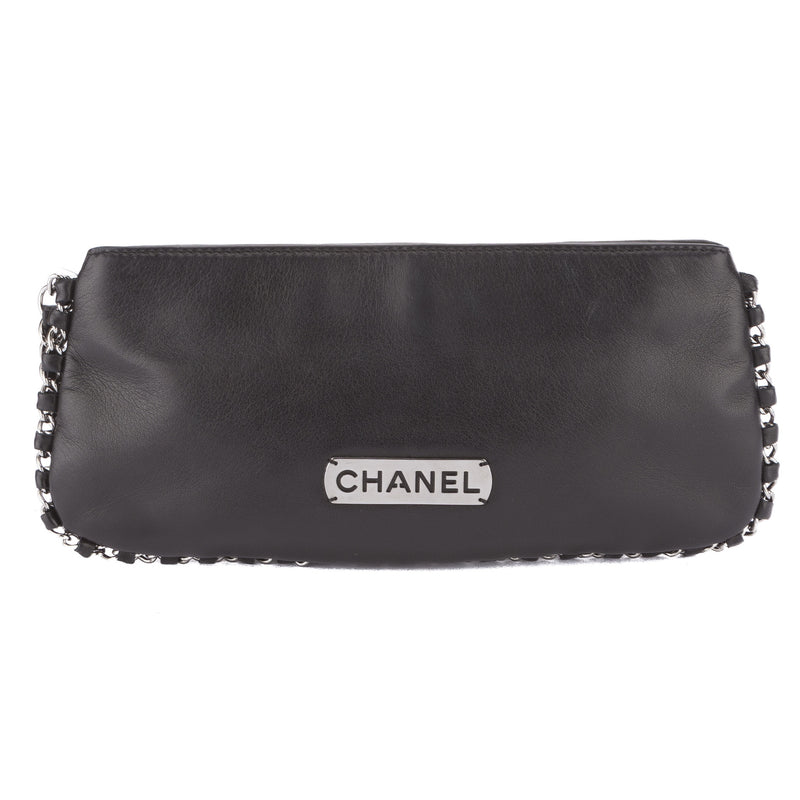 Chanel Black Lambskin Leather Evening Bag (Pre Owned)