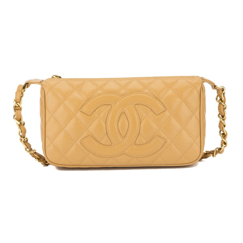 Chanel Tan Caviar Pochette Bag (Pre Owned)