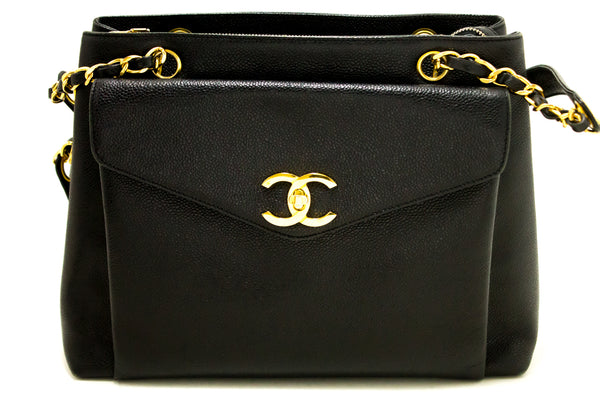 Chanel Black Caviar Large CC Shoulder (SHB-10009)