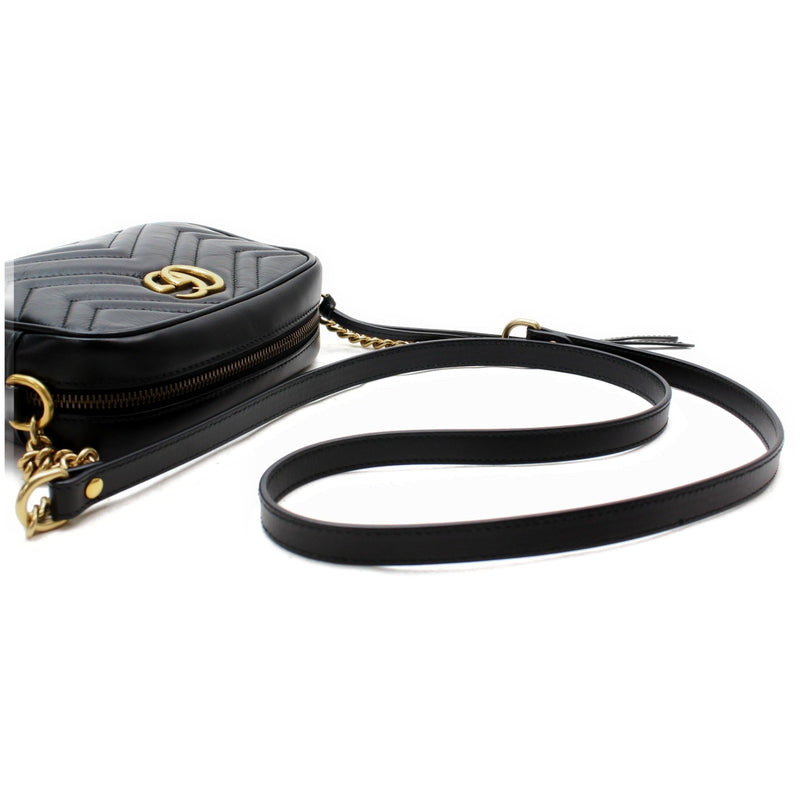 Gucci Shoulder Bag Gg Marmont Quilting Minibag 448065 Good Condition (SHC1-17114)