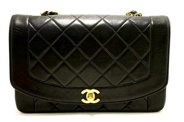 Chanel Black Quilted Lambskin Diana Classic Flap  (SHB-10108)