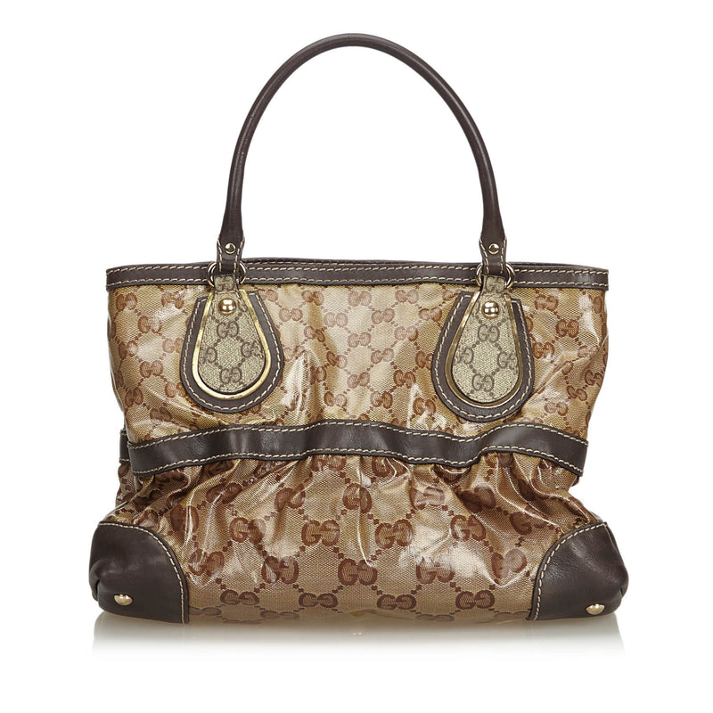 Pre-Loved Gucci Brown Coated Canvas Fabric Medium GG Crystal Mix Handbag Italy