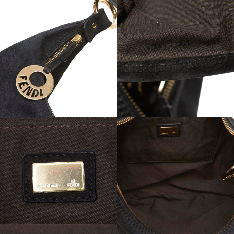 Pre-Loved Fendi Black Nubuck Leather Chef Hobo Bag ITALY