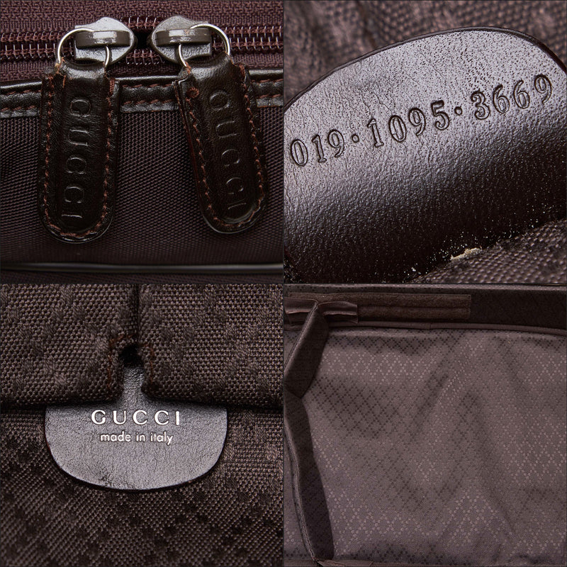 Pre-Loved Gucci Brown Dark Nylon Fabric Business Bag Italy