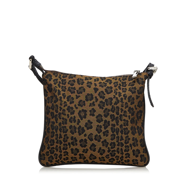 Pre-Loved Fendi Brown Light Canvas Fabric Leopard Print Crossbody Bag Italy