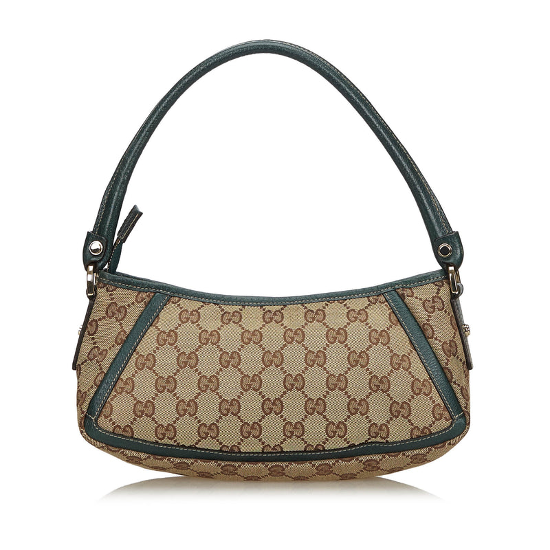 Pre-Loved Gucci Brown Beige Canvas Fabric GG D-Ring Abbey Baguette Italy