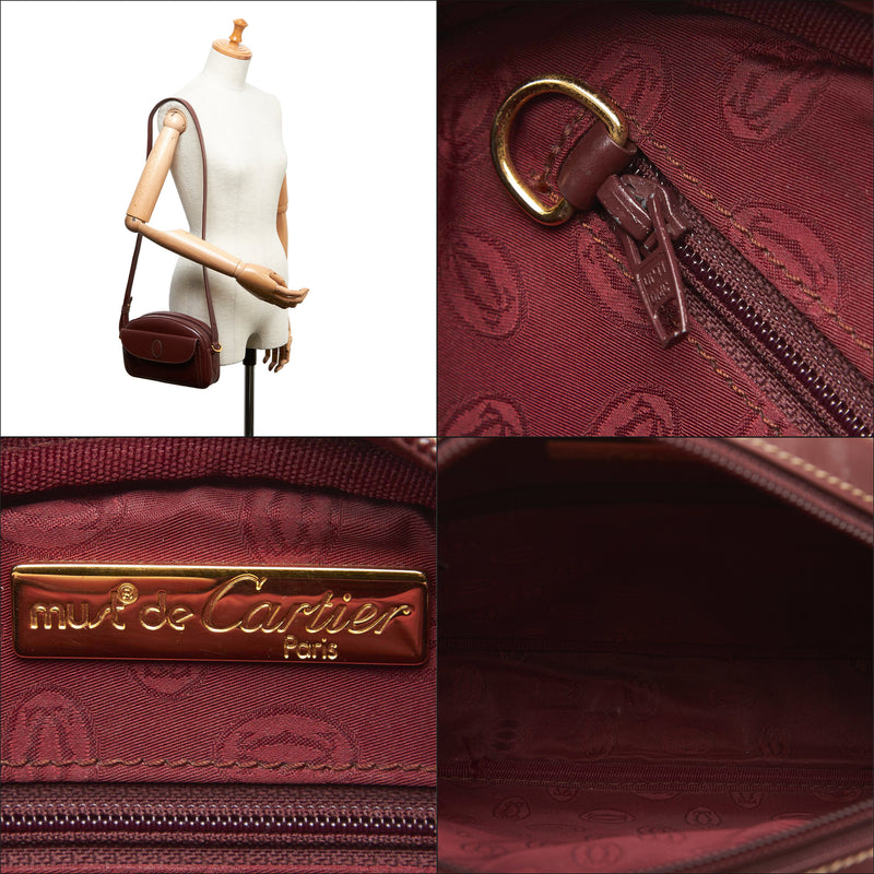 Pre-Loved Cartier Red Bordeaux Others Leather Must de Crossbody Bag France