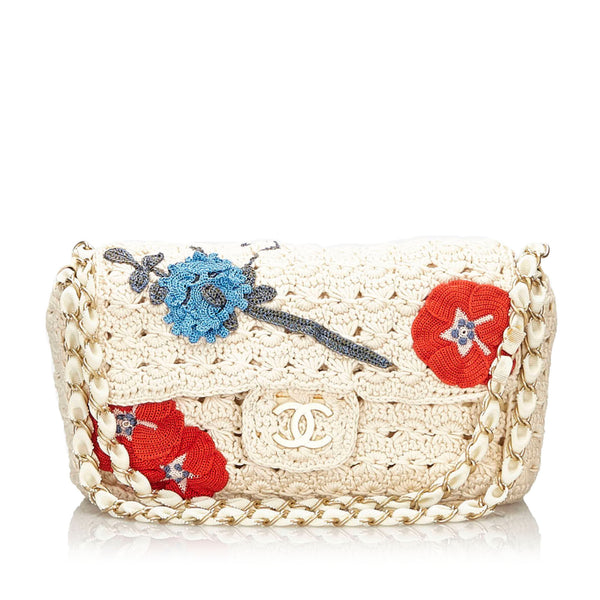 Pre-Loved Chanel White Cotton Fabric Camellia Crochet Flap Bag France