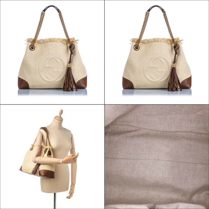 Pre-Loved Gucci White Ivory Canvas Fabric Soho Shoulder Bag Italy