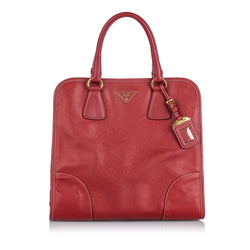 Pre-Loved Prada Red Others Leather Saffiano Satchel Italy