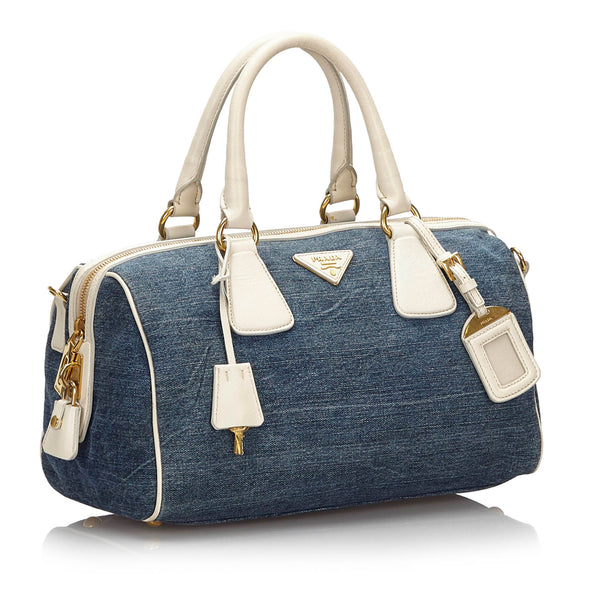Pre-Loved Prada Blue Denim Fabric Satchel Italy