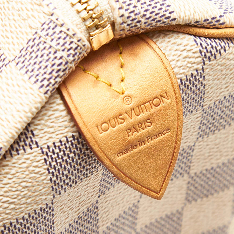 Pre-Loved Louis Vuitton White Damier Canvas Azur Speedy 25 France