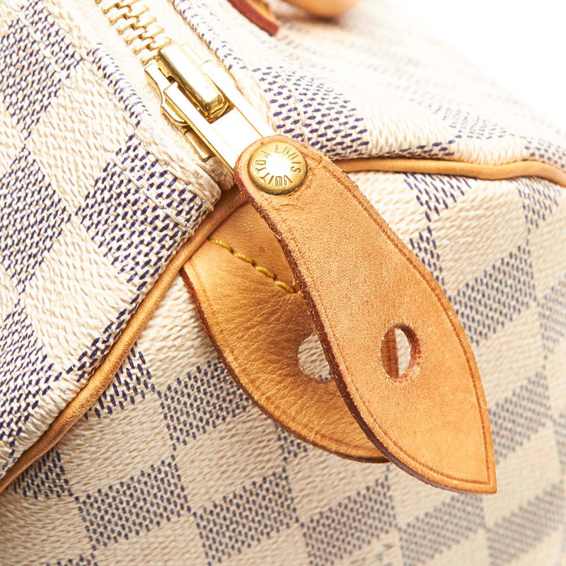 Pre-Loved Louis Vuitton White Monogram Canvas Damier Azur Speedy 25 France