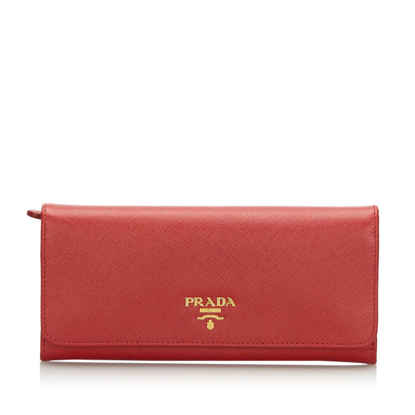 Pre-Loved Prada Pink Others Leather Saffiano Long Wallet Italy