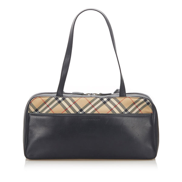 Burberry Nova Check Leather Shoulder Bag (SHG-18821)