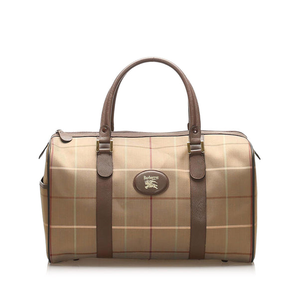 Burberry Plaid Canvas Boston Bag (SHG-18833)