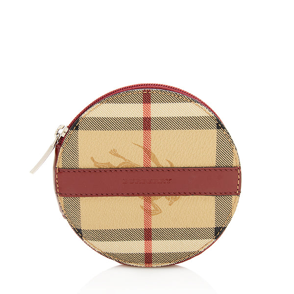 Burberry Vintage Haymarket Check Round Coin Pouch (SHF-11870)