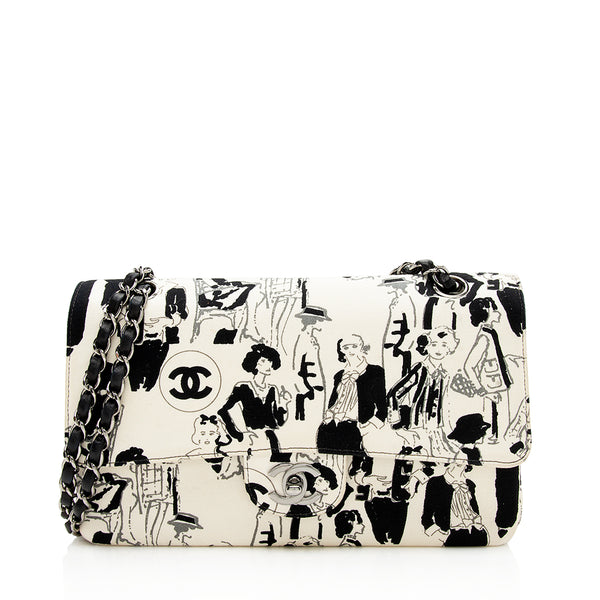 Chanel Canvas Karl Lagerfeld Sketches Classic Medium Double Flap Bag (SHF-12840)