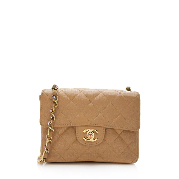 Chanel Caviar Leather Classic Square Mini Flap Shoulder Bag (SHF-12243)