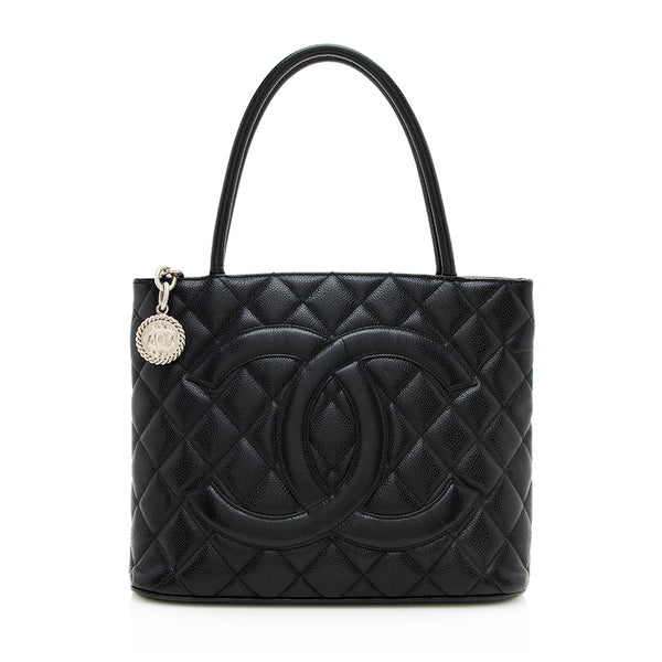 Chanel Caviar Leather Medallion Tote (SHF-12186)