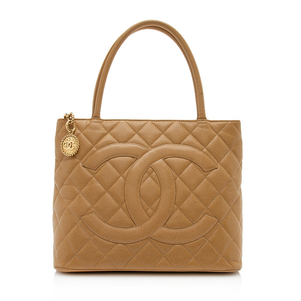 Chanel Caviar Leather Medallion Tote (SHF-12174)