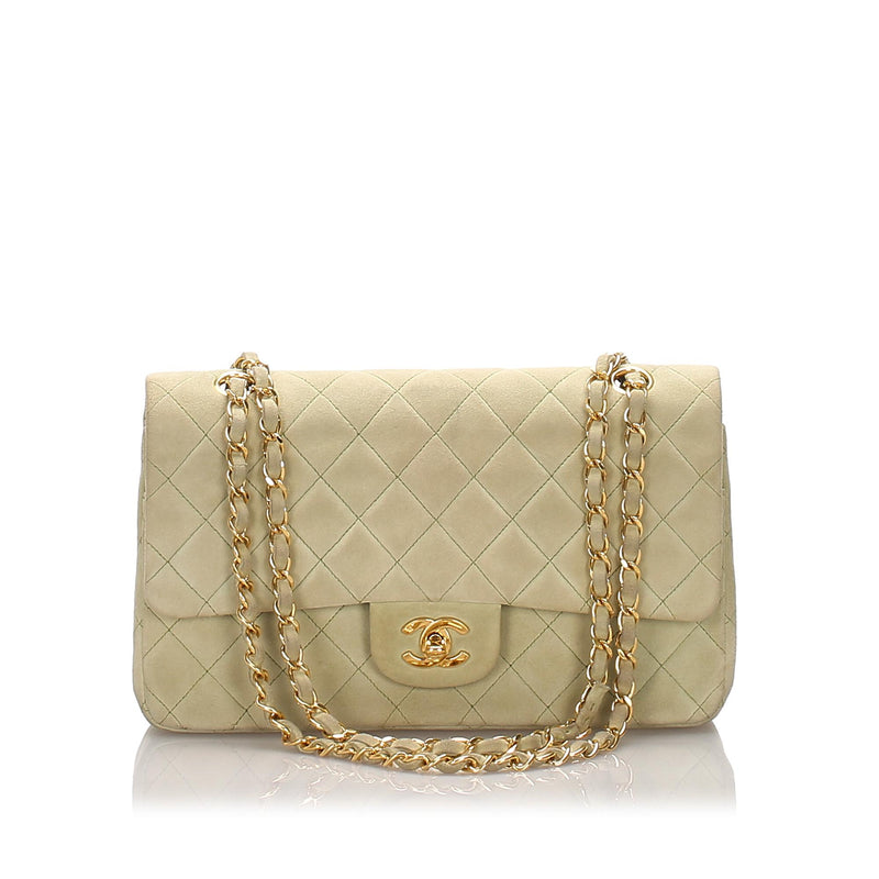 Chanel Nubuck Classic Medium Double Flap Bag (SHG-12194)