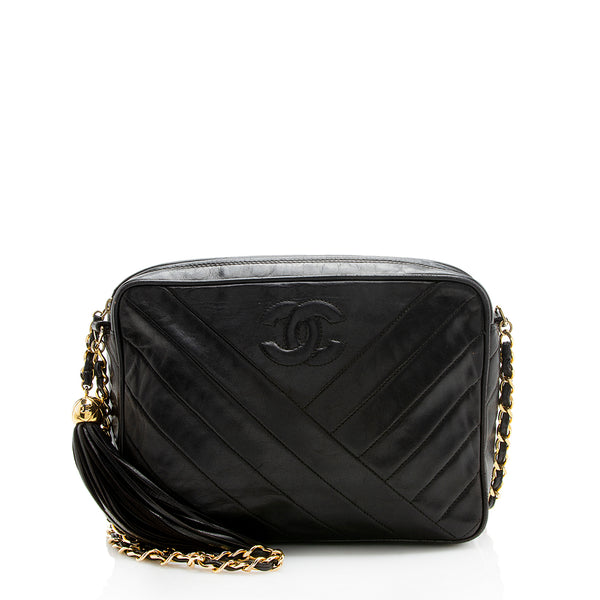 Chanel Vintage Lambskin Tassel Shoulder Bag (SHF-12264)