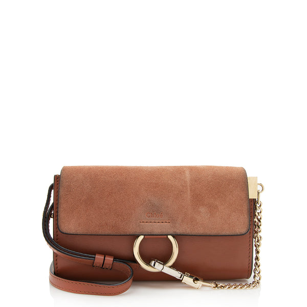 Chloe Calfskin Suede Faye Wallet Bag - FINAL SALE (SHF-12337)