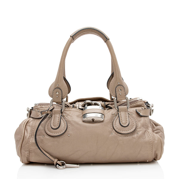 Chloe Metallic Leather Paddington Medium Satchel