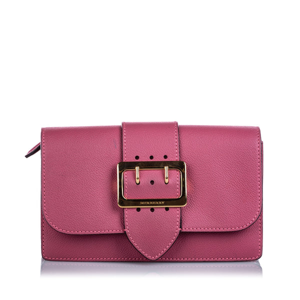 Pre-Loved Burberry Pink Calf Leather Buckle Crossbody Bag ITALY