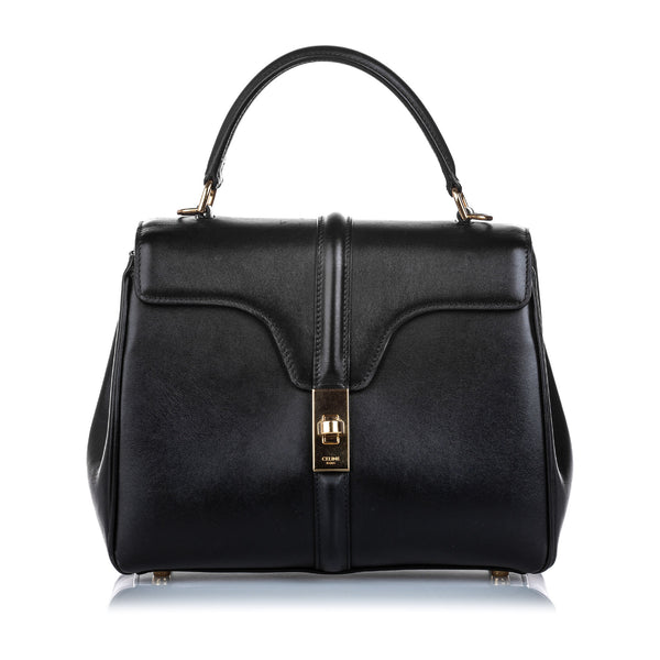 Pre-Loved Celine Black Calf Leather Small 16 Bag Italy