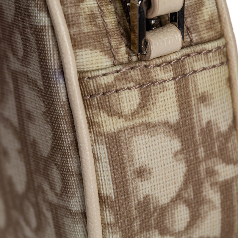 Pre-Loved Dior Brown Beige PVC Plastic Oblique Floral Canvas Baguette France