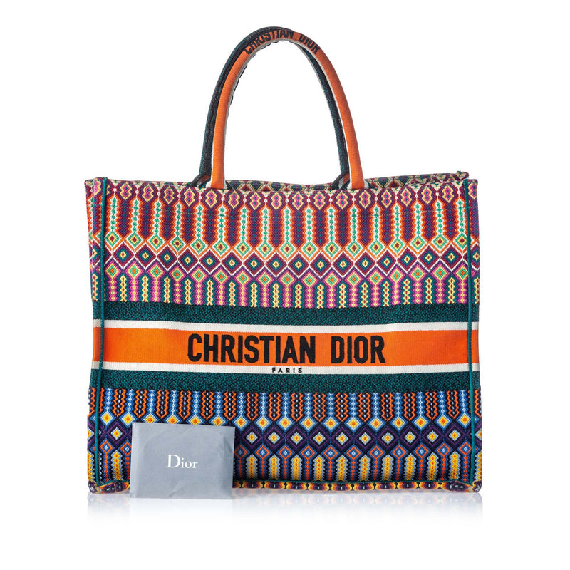 Pre-Loved Dior Multi Canvas Fabric Embroidered Book Tote ITALY
